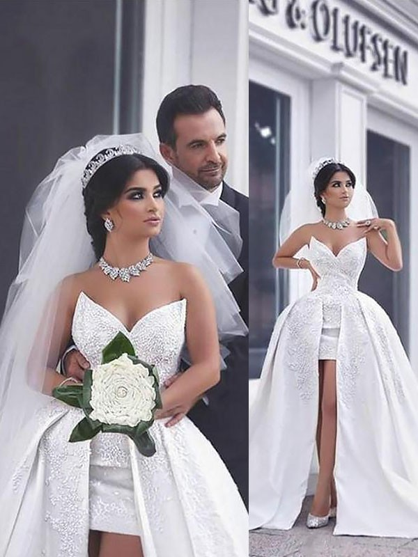 Chic Chic London Ball Gown With Beading Satin Chapel Train Sweetheart Wedding Dresses