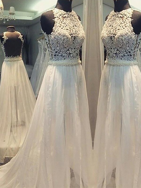 First Impressions Princess Style Sweep/Brush Train Chiffon Scoop Wedding Dresses