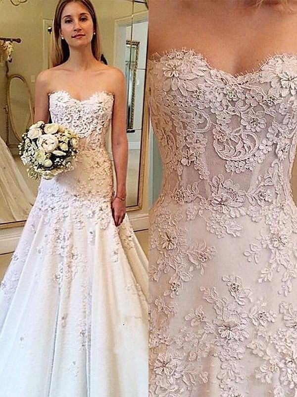 Visual Moment Princess Style Sweetheart Lace Court Train Wedding Dresses