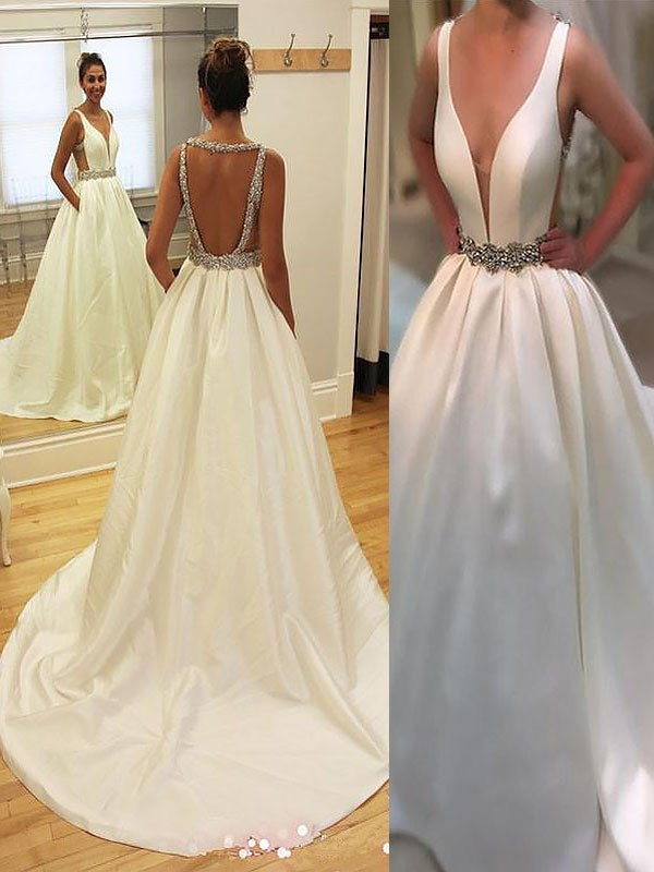 Memorable Magic Princess Style Court Train Satin V-neck Wedding Dresses