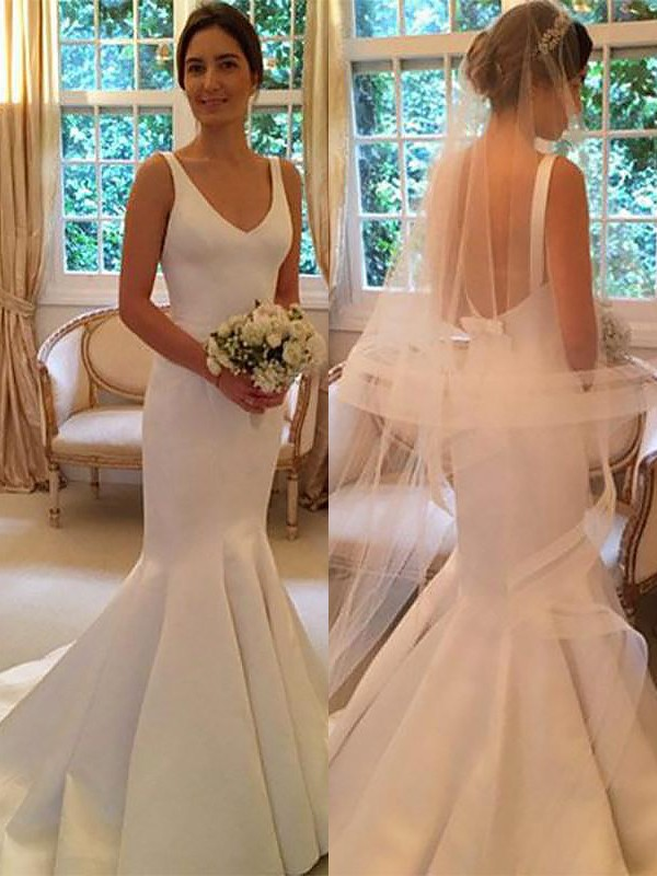 Romantic Vibes Mermaid Style V-neck Satin Sweep/Brush Train Wedding Dresses