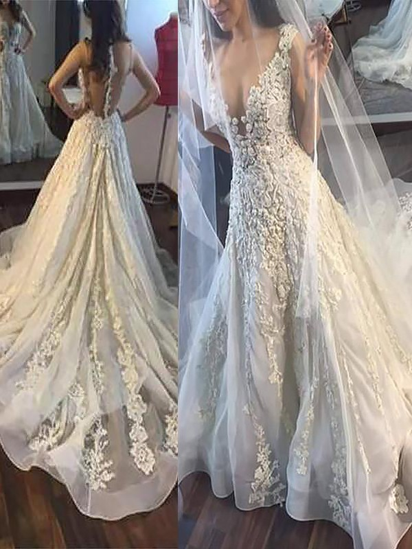 Befits Your Brilliance Princess Style V-neck With Applique Court Train Tulle Wedding Dresses