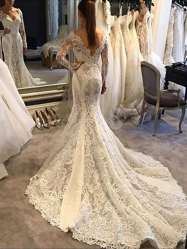 Glitz the Spot Mermaid Style V-neck Court Train Lace Wedding Dresses
