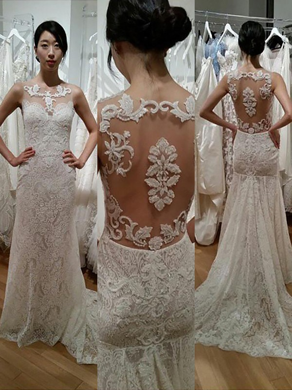 Modern Mood Mermaid Style Lace Scoop Sweep/Brush Train Wedding Dresses