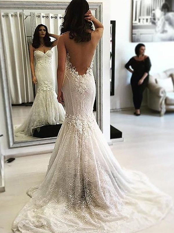 Absolute Lovely Mermaid Style Sweetheart Sweep/Brush Train Lace Wedding Dresses