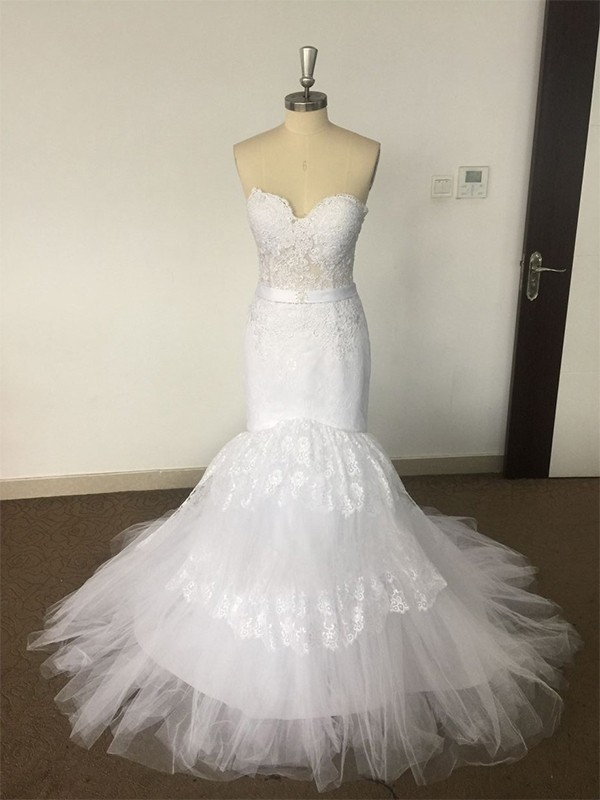 Aesthetic Honesty Mermaid Style Sweetheart Court Train Lace Tulle Wedding Dresses
