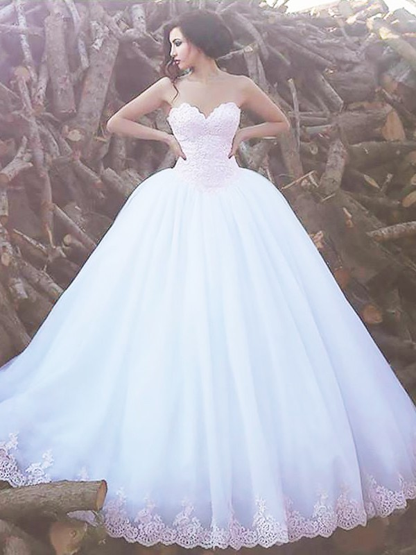 Time to Shine Ball Gown Sweetheart Sweep/Brush Train Organza Wedding Dresses
