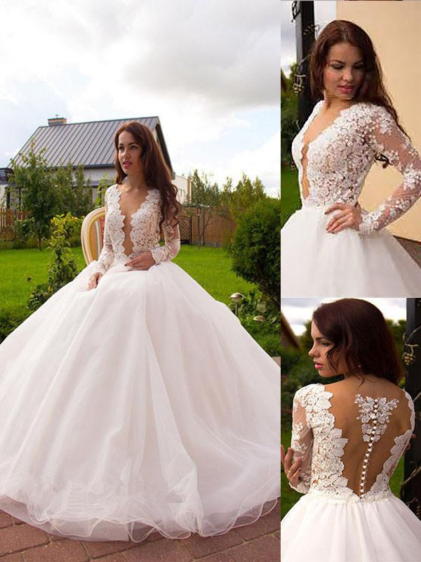 Efflorescent Dreams Ball Gown V-neck Tulle Court Train Wedding Dresses