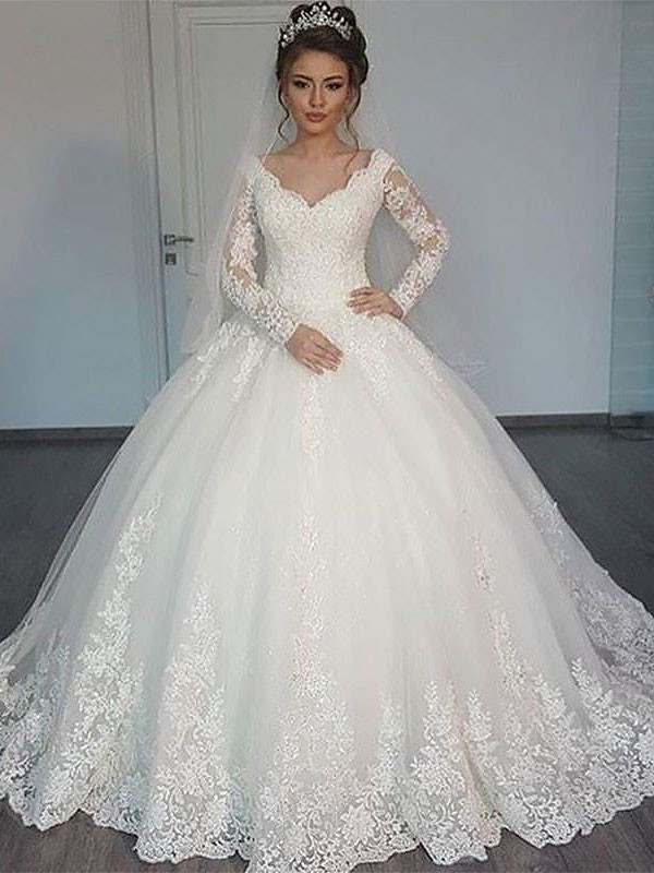 Styled to Smile Ball Gown Court Train V-neck Tulle Wedding Dresses