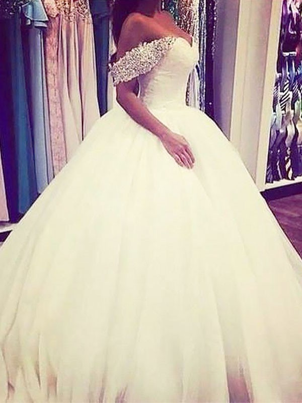 Pretty Looks Ball Gown Tulle Off-the-Shoulder Sweep/Brush Train With Beading Wedding Dresses
