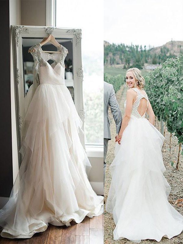 Too Much Fun Princess Style Straps Sweep/Brush Train Tulle Wedding Dresses