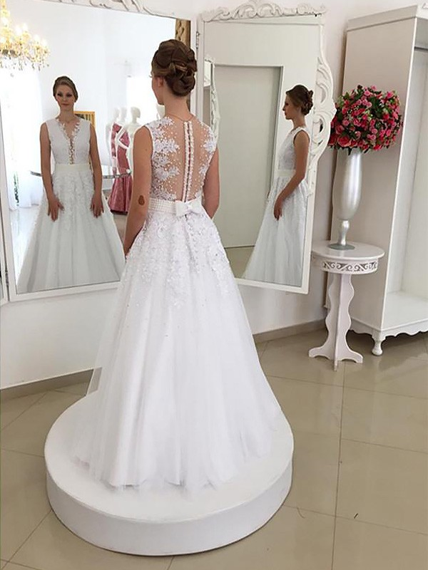 Yours Truly Mermaid Style Lace Scoop Floor-Length Wedding Dresses