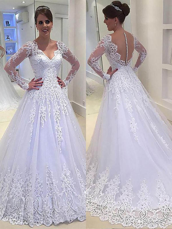 Just My Style Princess Style With Applique V-neck Court Train Tulle Wedding Dresses