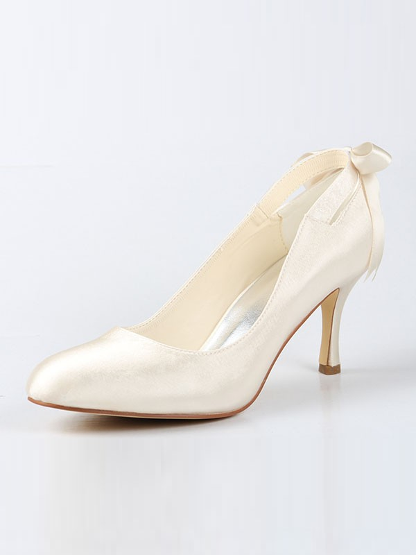 Women's Satin Closed Toe Spool Heel With Bowknot Ivory Wedding Shoes