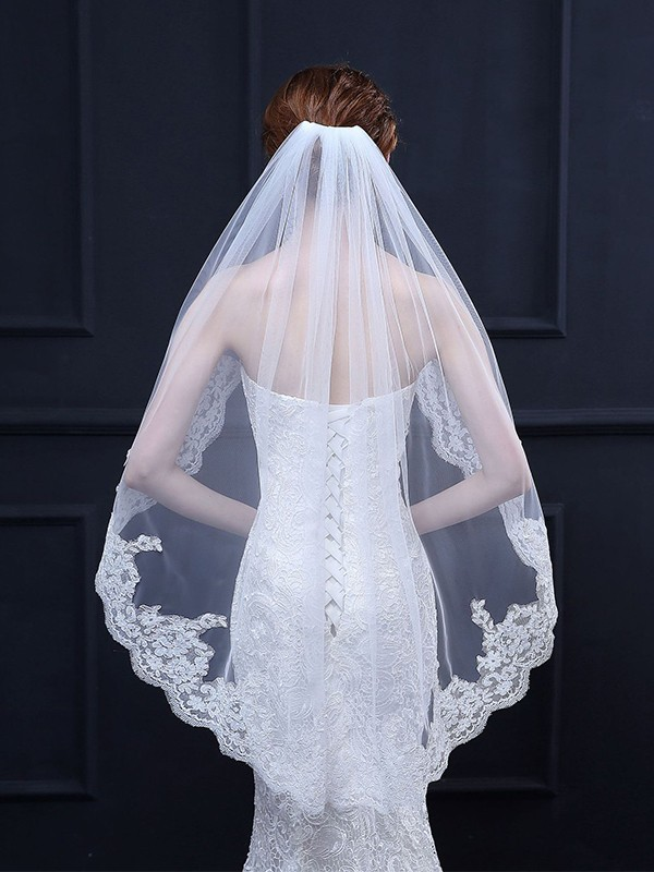 Attractive Tulle With Lace Wedding Veils