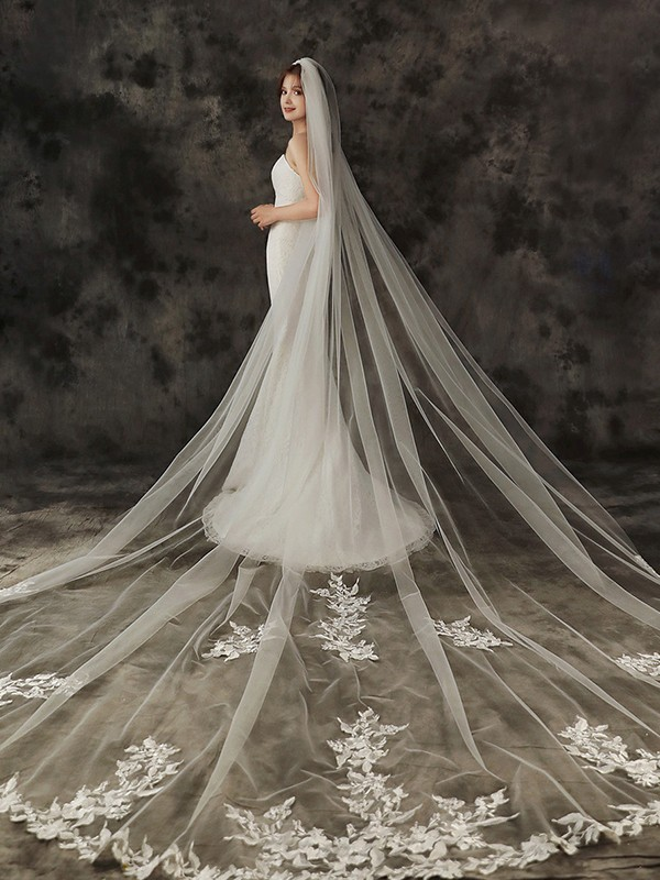 Gorgeous Tulle One-Tier With Applique Cathedral Bridal Veils