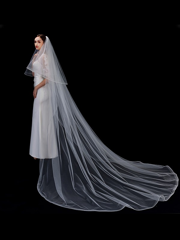 Fancy Tulle Two-Tier Cathedral Bridal Veils