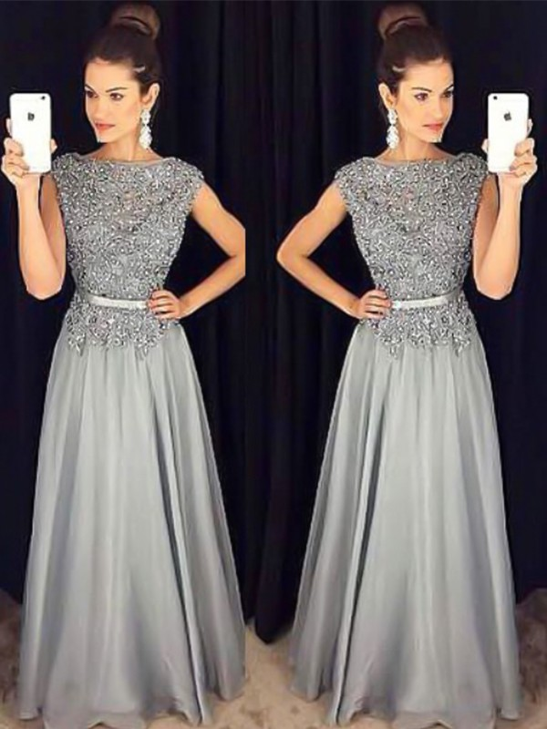 Pretty Looks Princess Style Bateau Floor-Length Applique Chiffon Dresses