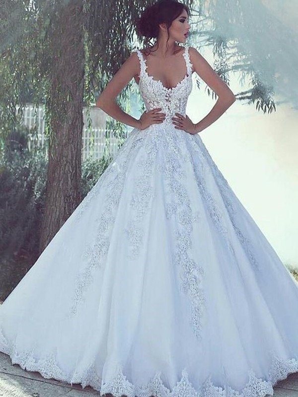 7f471cbd6769 Confident Option Ball Gown Spaghetti Straps Floor-Length Applique Tulle Wedding  Dresses