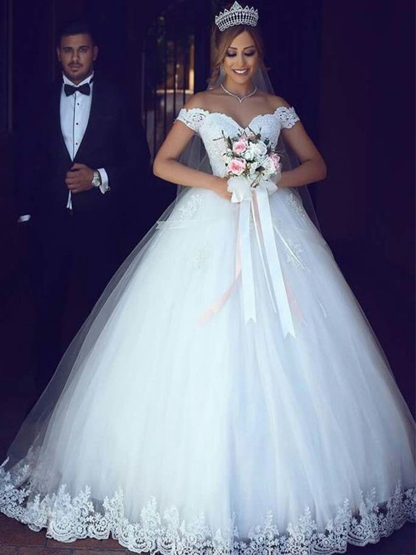 Open to Adoration Ball Gown Off-the-Shoulder Floor-Length Lace Tulle Wedding Dresses