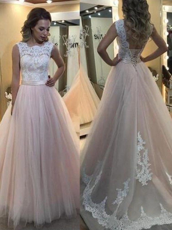 Modern Mood Princess Style Bateau Sweep/Brush Train Lace Tulle Dresses