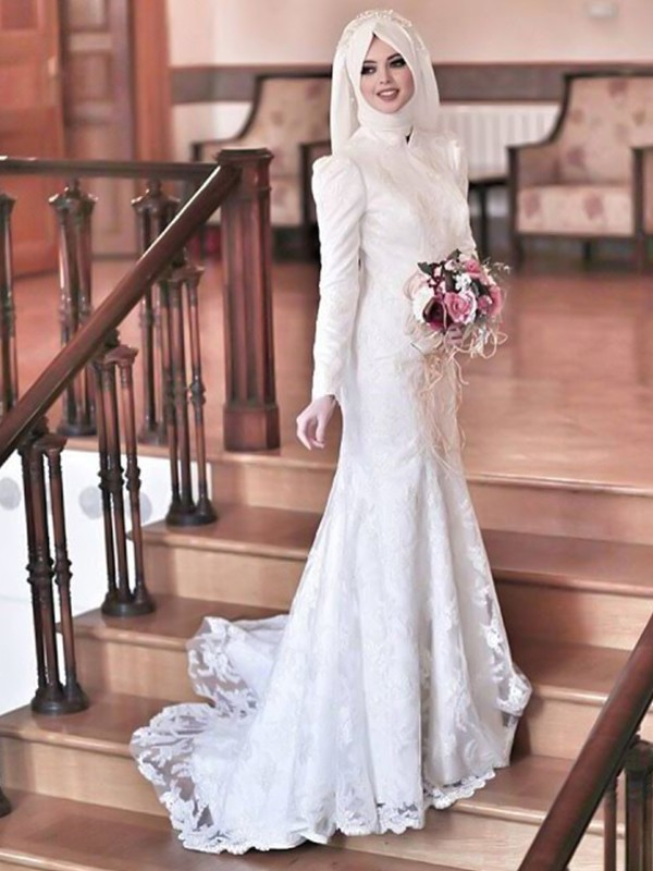 Savor the Occasion Mermaid Style High Neck Sweep/Brush Train Lace Tulle Wedding Dresses