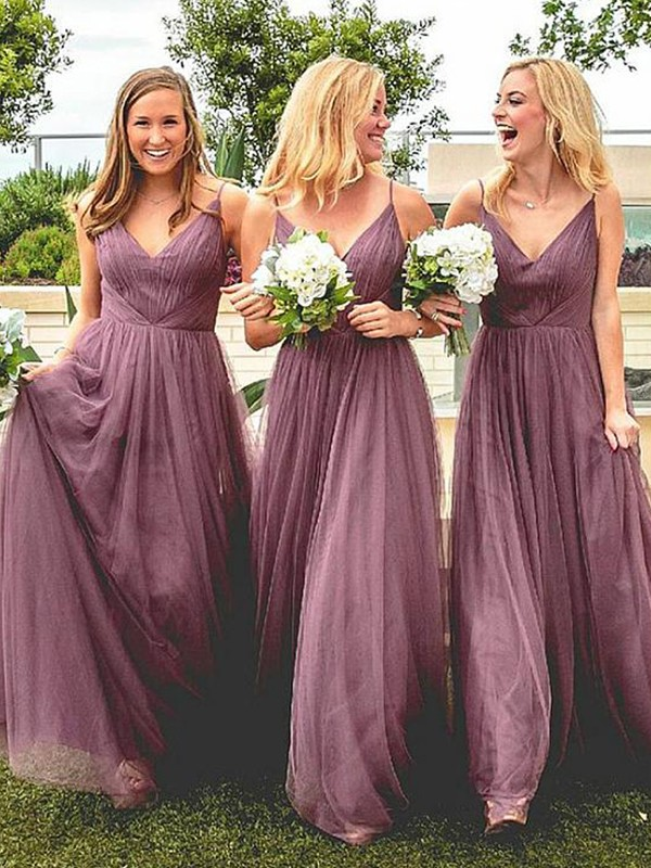 Creative Courage Princess Style Spaghetti Straps Floor-Length Ruffles Tulle Bridesmaid Dresses