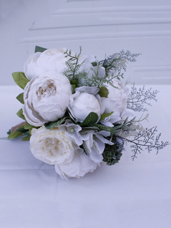 Beautiful Free-Form Silk Flower Bridal Bouquets