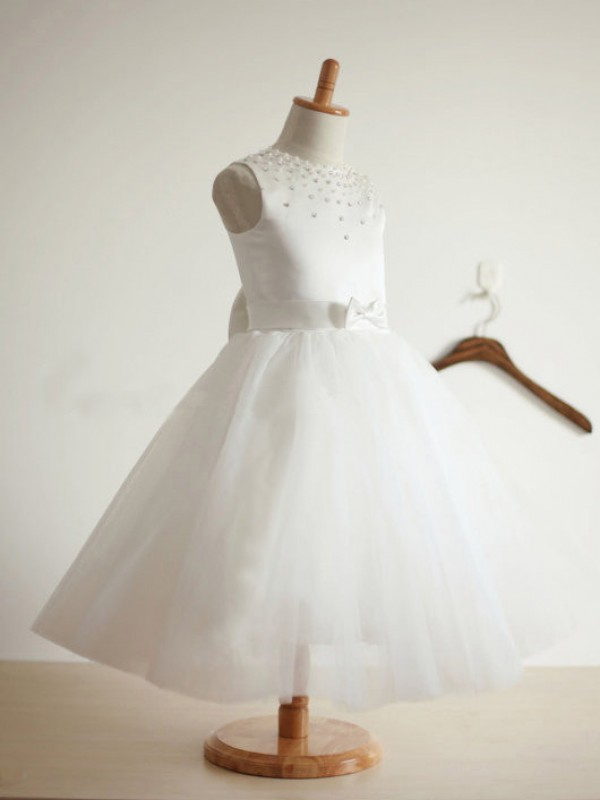 Absolute Lovely Ball Gown Jewel Bowknot Long Tulle Flower Girl Dresses