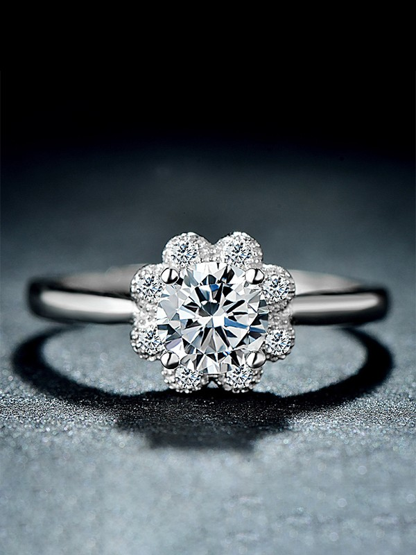 Fashion S925 Silver With Zircon Adjustable Wedding Rings