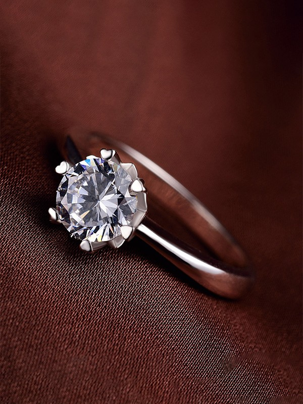 Brilliant 925 Sterling Silver With Zircon Wedding Rings
