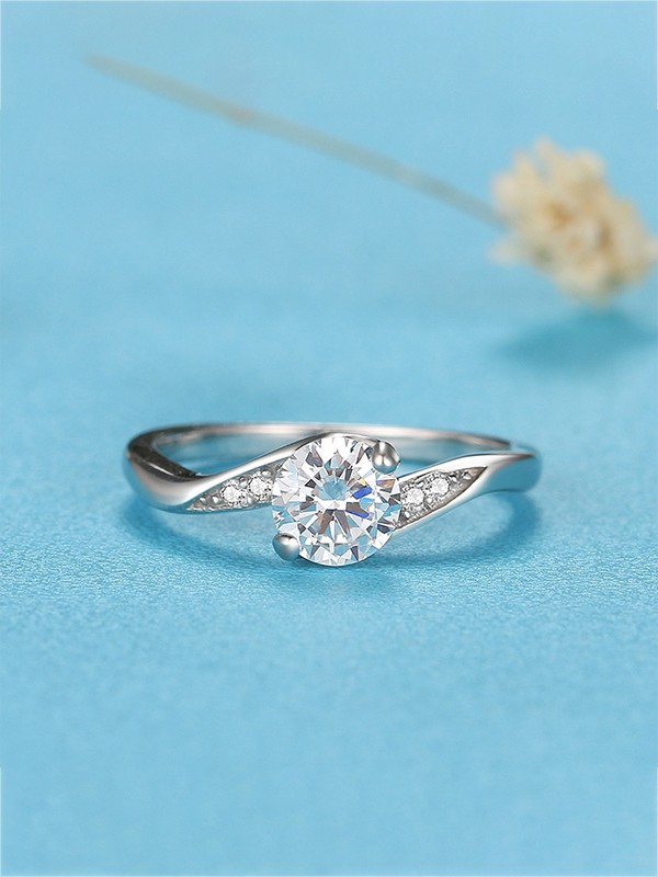 Graceful 925 Sterling Silver With Zircon Wedding Rings
