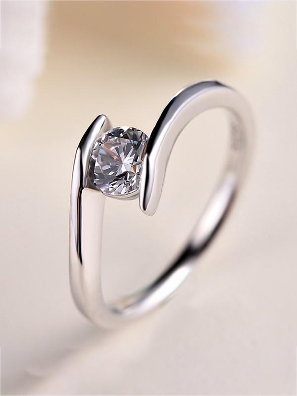 Beautiful S925 Silver With Zircon Wedding Rings