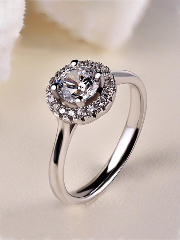 Luxurious S925 Silver With Zircon Wedding Rings