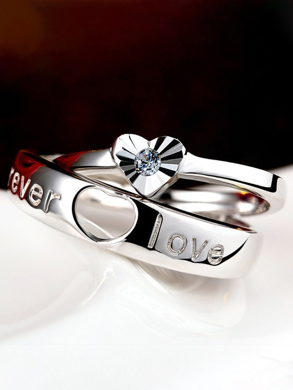Charming 925 Sterling Silver Adjustable Hot Sale Couple Rings