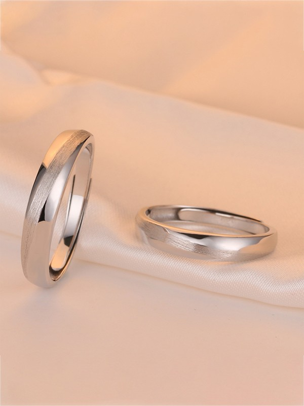 Simple 925 Sterling Silver Adjustable Couple Rings