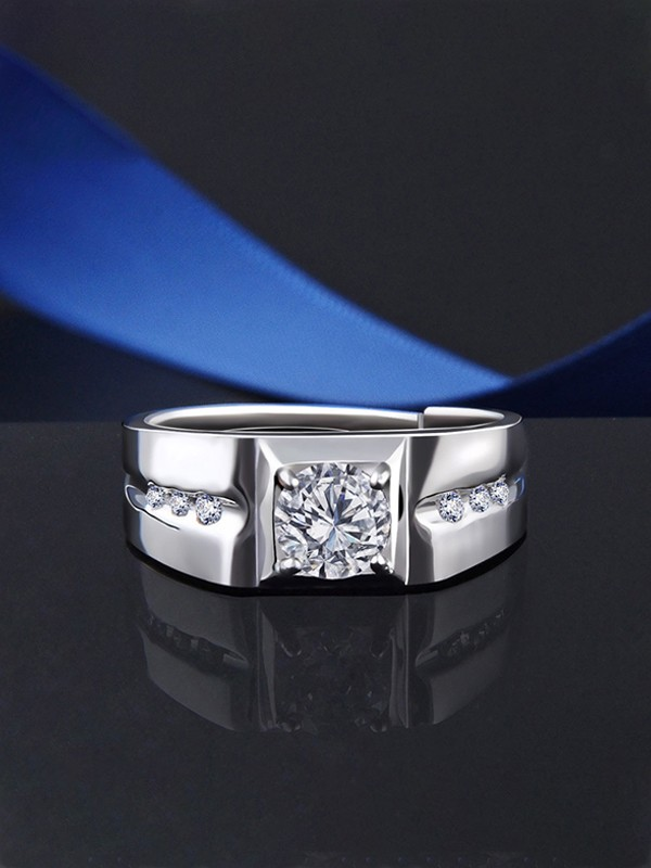 Fashion 925 Sterling Silver With Zircon Adjustable Rings For Men