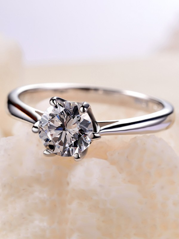 Unique 925 Sterling Silver With Zircon Wedding Rings