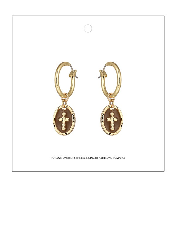 Delicate Zinc Alloy With Cross Earrings For Ladies